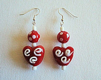 Unique Red Heart Earrings Valentines Day Gifts for Her Lampwork Glass Jewelry Cute Earrings White Squiggles Great Gifts for Girlfriend