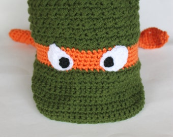 Crochet Ninja Turtle Newsboy Hat, Warm Ninja Turtle Costume Accessory, Adult Ninja Turtle Hat, TMNT Adult (CH-014/Orange/Adult Large)