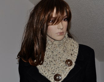 Crochet  Chunky  Neck warmer, Scarf with buttons ,Winter Accessories, Hand made by me,  Christmas Gift for Her,