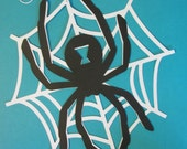1 large spider on web,  spider die cut, spiderweb silhouette, wall or hanging decoration, 11 inches