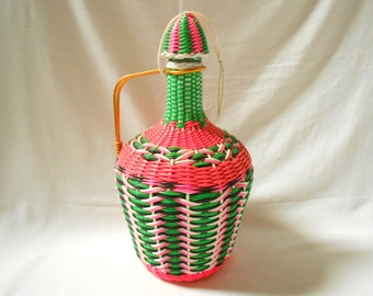 French Vintage Pink / Green / Multicolor Woven Plastic Wicker Covered Wine Jug / Bottle (A855)