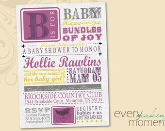 Baby Shower Invitation -- digital, custom, printable -- Baby Girl-- Baby Shower Invite