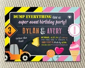 Joint Birthday Party Construction and Sweet Shoppe Invitation: Digital File