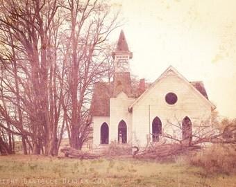 Landscape Photo Abandoned Church--Fine Art Lomography 8x12