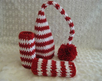 Crochet Baby Hat Elf Pixie Christmas and leg warmers Photo prop Red White  Striped Photo prop