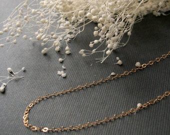 Simple 14K Gold Filled Necklace Womans Delicate Tiny Whisper Necklace Simple Style Light Dainty Plain Gold Filled Chain
