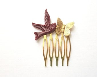 SAMPLE SALE Butterfly and Bird Hair Comb Blackberry Deep Purple Gold Toned Tiny Natural Vintage Style Woodland Hair Comb