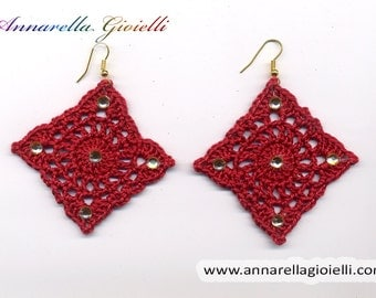 Crochet earrings, red, handmade, square, strass, golden, thread, cotton,  rumble, modern style, #E186