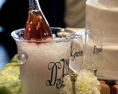 Personalized Monogram Initials for Ice Bucket and Champagne Glasses for Wedding