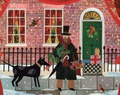 Dickens - Christmas Card - Victorian - Snow - Dog - Robin - Writer's House - London Street Scene - Traditional Christmas Scene - Collage