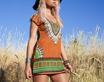 Sexy Tribal Dress, African Print Dress, Tunic, Short Boho Dress, Navajo, Bali, Pattern Dress, Festival, Burning Man