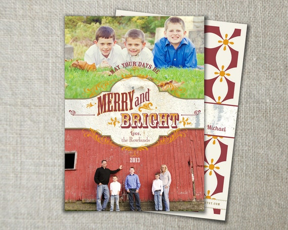 Country christmas photo card rustic christmas photo card western