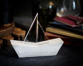 Nautical Sailboat concrete lamp, minimalist home decor
