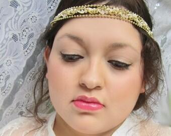 bridal headpiece, wedding headband, braid headband, gold headband, bead headband, braid headband, wedding hair piece, forehead headpiece