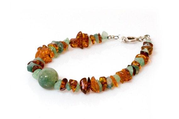 Amber, Aventurin and Moss Agate natural bracelet, natural forest inspired bracelet