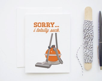 Sorry, I Totally Suck - Orange Retro Hoover Vacuum Inspired Greeting Card - Blank Notecard
