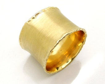 Gold Ring Wide Wedding Band Concaved Textured