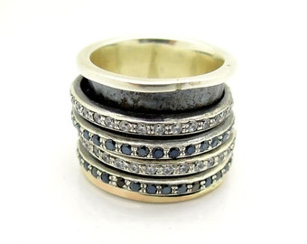 Wide Silver spinner ring with spinel and zircons