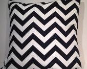 "Decorative Throw Pillow Cover 16"" x 16"" Black and White Chevron Zig Zag Stripe"