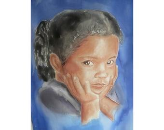 Custom portrait on Silk Scarf, Hand painted silk scarf with portrait