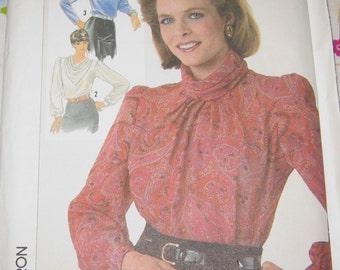 Simplicity 7092 Pattern Soulder Pad 1980's Blouse  Size 14 Vintage