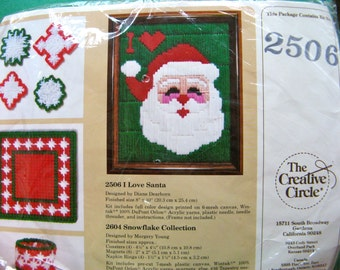 Vintage Santa Needlework Kit by The Creative Circle. Finished size is 8 x 10 inches. -  Original Package Unopened