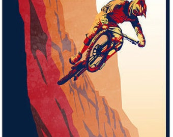 retro motivational mountain bike poster print 8X17