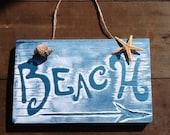 Beach Sign Vintage Beach Sign  Wood Beach Sign Beach Wall Decor Beach House Decor