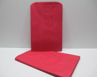 Red Gift Bag, Red Paper Gift Bag, SALE - 100 Red 6x9 Paper Merchandise Bags, Favor Bags, Weddings, Showers, Birthdays, Treats