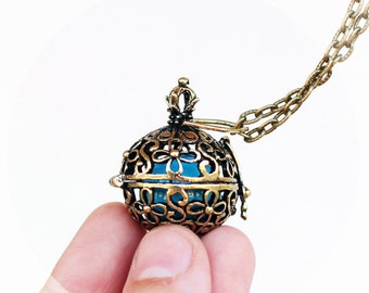 Angel caller pendant Maternity necklace Pregnancy necklace Harmony ball necklace wishing pendant FLOWER