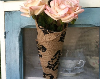 Fleur de lis burlap wedding cone, burlap cone, rustic decor