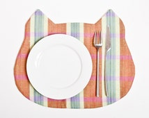 Linen Placemat Orange Cat,  Fabric placemat, placemats for dining table