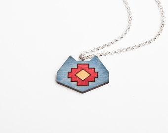 Blue Necklace, Wood Cat Necklace, Tribal Pendant, Cat Pendant, Blue Pendant, Cat Native Necklace, Ethnic Pendant, Cat Geometric Necklace