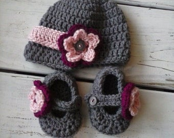Crochet Baby Girl Newsboy Hat and Mary Jane Booties- Grey and Pink MADE TO ORDER