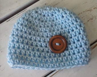 Crochet Baby Boy Beanie Hat- Baby Blue with Button- Newborn to Toddler MADE TO ORDER