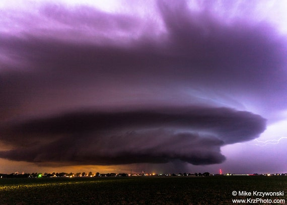 A Gorgeous Colorful Severe Supercell Thunderstorm in Colorado at Night