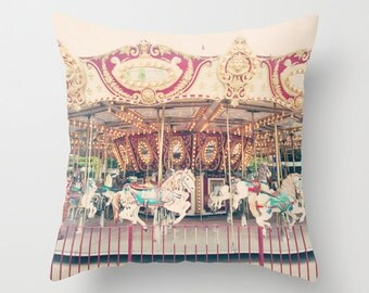 Carousel horse, pillow cover, nursery decor girl nursery decor, french pillow, carousel pillow, carousel horse pillow, animal nursery boy