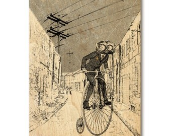 Art print on wood, weird and cool anthropomorphic primate on vintage bicycle