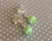 Happy green stripes clip-on (or pierced) earrings