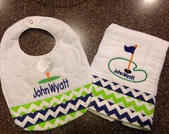 Personalized Golf Custom Burp Cloth & Bib for Boys