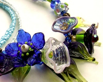 Handmade Lampwork Delicate, Glass Purple -Green Bouquet, Spring Flowers Romantic Necklace, Bead-Art Necklace, Made to Order !