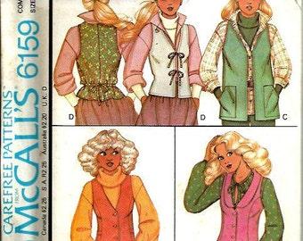 McCall's 6159 Carefree Pattern, Misses Set of Vests, Size 10-12-14 UNCUT