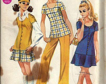 VTG Simplicity 8607 Junior/Teen Tunic, Mini Skirt and Pants Pattern, Size 11/12 UNCUT