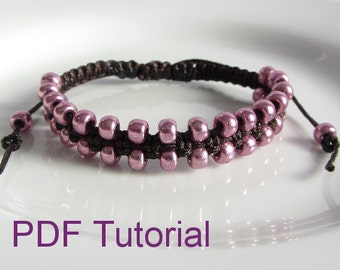 PDF Tutorial Beaded Square Knot Macrame Bracelet Pattern, Instant Download Seed Bead Bracelet Tutorial, DIY Friendship Slider Bracelet