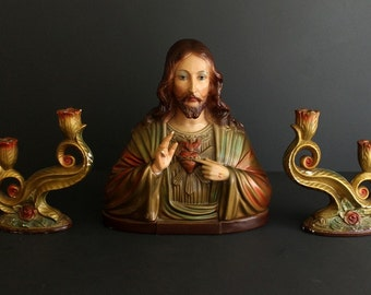 Vintage Antique Plaster of Paris Altar Bust of Jesus Christ And The Sacred Heart with Matching Candle Stick Holders