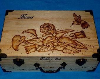 decorative wooden tea box wood burned box hummingbird wedding keepsake suitcase box custom advice box jewelry - Decorative Wooden Boxes