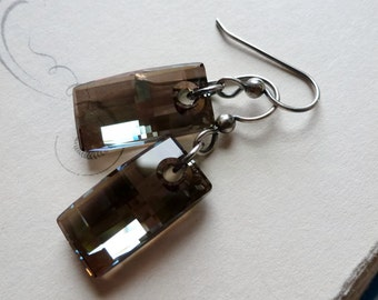 Iridescent Green Rectangle Crystal Earrings / Urban Khaki Green / SimplyJoli / Geometric Dangle Earrings