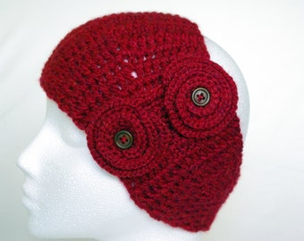 handmade crochet headband with flowers, head wrap, head scarf, ear warmer, flower headband, Winter fashion, ready to ship, UK seller