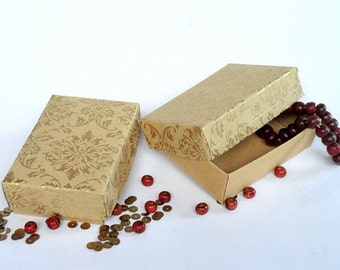 Jewelry Packaging Boxes, Retail Packaging box 10 Gold  Damask Print on Kraft Paper 3 x 2 x1 inch
