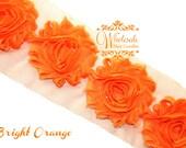 Shabby Flowers - BRIGHT ORANGE Shabby Rose Trim - Shabby Chic - Shabby Flower Trim - Wholesale Shabby Flowers - DIY Flowers